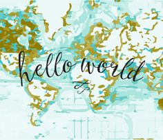 Hello World Baby Blanket or Swaddle // mustard fabric by ivieclothco on Spoonflower - custom fabric