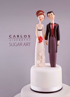 Amazing talent for cake toppers. If you're interested in making your own topper, there is a book created by the artist that can help guide you.