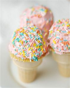 Cupcakes in ice cream cones -- perfect for a Fancy Nancy party!