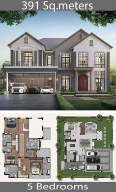 Architecture house 391 square meters - Home Ideassearch How Fire-Safe Is Your School? House Plans 2 Storey, 2 Storey House Design, Sims House Design, Bungalow House Design, Small House Design, Cool House Designs, Modern House Design, Sims House Plans, House Layout Plans