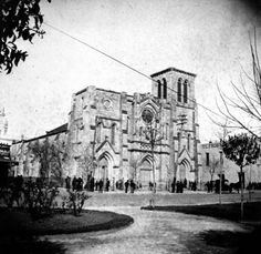 Photo: 1883 - San Fernando Cathedral, as seen from the park in front of Bexar County Courhouse. Texas History, Local History, San Fernando Cathedral, Eyes Of Texas, Rock Creek, Luxury Sofa, Cathedrals, Sofa Design, Wild West