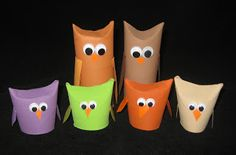 """Toilet Paper Roll Owls.  Pre-cut beaks/wings, so kids just glue them on.  Add popcicle stick for """"puppet""""?"""