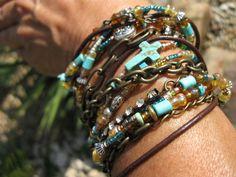 Boho Bronze endless leather chain multi strand by fleurdesignz, $38.00