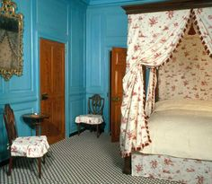 Bedroom ~ Mount Vernon ~ Alexandria ~ Virginia ~ President George Washington's Home ~  Notice the blue paint.  Blue was the most expensive color to make in the 18th Century, based on the materials, so it was exceedingly expensive.  This bright color blue was very fashionable at the time.