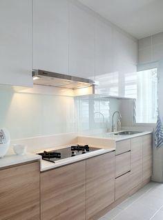 Cozinha Clean: 60 Modelos e Projetos Incríveis Revestimento de vidro na parede