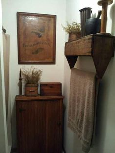 clever turning the tool box upside-Bathroom , Country Primitive Bathroom Decor : Primitive Bathroom Decor With Wall Art And Cabinet And Open Shelf With Towel Bar