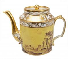A Paris Porcelain Yellow-ground Cylindrical Coffee Pot