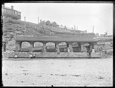 Stone Shelter Sheds at Newcastle Beach, Newcastle, NSW, 7 February 1912 Newcastle Beach, Newcastle Nsw, 7 February, Australian Road Trip, Australia Day, Historical Architecture, Road Trips, Old Photos, New Zealand