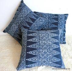 Natural Indigo Batik Hmong Throw Pillow by SiameseDreamDesign, $24.00