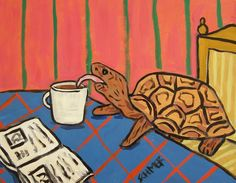 TURTLE coffee reproduction of painting animal art print poster 8x10 #Impressionism