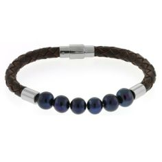"""8mm Blue Freshwater Pearls 8"""" Leather Bracelet W/ Stainless Steel Magnetic Clasp Gem Stone King. $22.99. Save 71% Off!"""