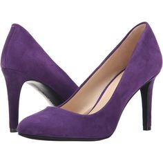 Nine West Handjive (Dark Purple Suede) High Heels ($45) ❤ liked on Polyvore featuring shoes, pumps, purple, round toe shoes, synthetic shoes, high heel shoes, purple shoes and purple pumps