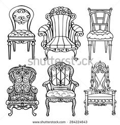 Furniture hand drawn set, vintage chair, armchair, throne front view closeup, black lines isolated on a white background