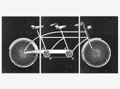 A personal favorite from my Etsy shop https://www.etsy.com/listing/251304086/extra-large-canvas-trio-tandem-bike-wall