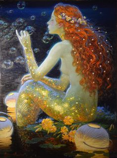 A mermaid blowing soap bubbles above the waves -- Victor Nizovtsev