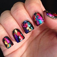 Beautiful foiled nails  I wouldn't do every nail but its pretty