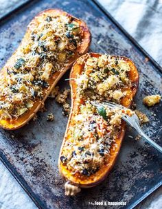 Healthy Easy Mediterranean Quinoa stuffed butternut squash