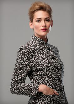 LEOPARD WOOL JACKET  A leopard design wool jacket in brown black and white, with patch pockets, shiny black buttons and a neru collar. This shape is also available in other fabrics. Shown here with a grey flannel pencil skirt.