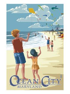 Ocean City, Maryland - Kite Flyers Art Print