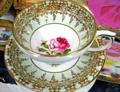 CLARENCE TEACUP GREEN GLAM GOLD TEA CUP AND SAUCER ROSE
