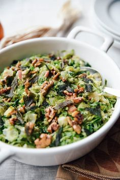 Stovetop brussel sprouts w/crispy sage and walnuts for 6