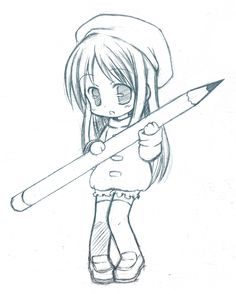 Chibi Pencil, by CatPlus on deviantART. >> Usually I don't really like the chibi characters, but this little girl is just so kawaii! Art Drawings Sketches Simple, Kawaii Drawings, Cute Drawings, Chibi Girl Drawings, Hipster Drawings, Pencil Drawings, Kawaii Chibi, Anime Chibi, Kawaii Anime