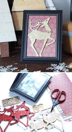 Dollar Store Framed Reindeer Silhouettes — would be a cute idea to print pictures of previous Christmas memories and put them in these picture frames to hang on the tree Dollar Tree Christmas, Diy Christmas Ornaments, Homemade Christmas, Christmas Projects, Holiday Crafts, Christmas Holidays, Christmas Decorations, Christmas Ideas, Diy Christmas Frames