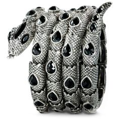 Four Circles Coiled Stretch Snake Bracelet Black ❤ liked on Polyvore featuring jewelry, bracelets, accessories, black jewelry, black jet jewelry, circle jewelry, stretch jewelry and stretchy bracelet