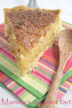 """A recipe for delicious South African sweet coconut tart, which I grew up calling """"klappertert"""" Coconut Recipes, Tart Recipes, Sweet Recipes, Dessert Recipes, Oven Recipes, Curry Recipes, Baking Recipes, South African Desserts, South African Recipes"""