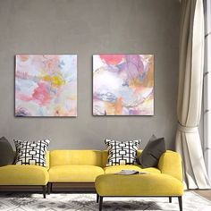 """Tickled Pink"" and ""Catching My Breath"" 24"" x  24"" each by Patricia Schwimmer"