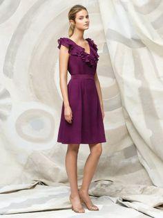 (NO.018741 )Sheath / Column V-neck  Sleeveless Knee-length  Taffeta Grape Bridesmaid Dress / Cocktail Dress / Homecoming Dress