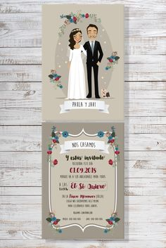 Colección mod. Colsi Wedding Day Cards, Wedding Prep, Scroll Wedding Invitations, Wedding Invitation Templates, Desi Wedding Decor, Wedding Decorations, Wedding Ceiling, Wedding Illustration, Couple Wallpaper