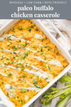 This healthy creamy paleo buffalo chicken casserole with ranch and cauliflower rice is the ultimate paleo buffalo chicken casserole! With a super creamy buffalo-ranch sauce, this low carb, keto friendly dinner recipe is so easy to throw together a Paleo Chicken Recipes, Paleo Recipes, Real Food Recipes, Dinner Recipes, Paleo Casserole Recipes, Paleo Chicken Salad, Whole 30 Chicken Recipes, Quick Recipes, Casserole Dishes