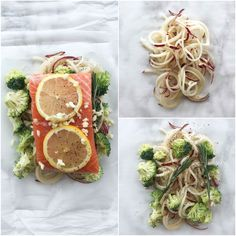 Garlic Rosemary Salmon and Broccoli Packets with Spiralized Potatoes