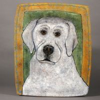 Deb Stabley Platter with White Dog