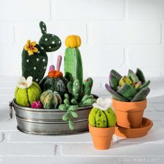 Diy Crafts : No green thumb required for these cute cacti—just a little needle felting fun! Felt Diy, Felt Crafts, Diy Crafts, Needle Felting Kits, Yarn Needle, Roving Wool, Wool Felt, Cactus E Suculentas, Cactus Craft