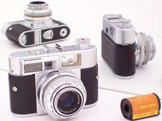 Vitomatic II 35mm coupled rangefinder camera with built-in meter, Prontor SLK shutter B,1 to 300 speed and Color-Skopar f2.8/50mm lens, Made in Germany by Voigtlander c1958