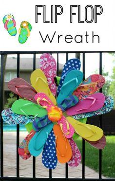 DIY Spring Wreath. Sandal wreath. Flip flop wreath.