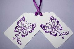 Set of 12 Purple Butterfly Tags Spring Wedding by SammysCraftShop, $6.00