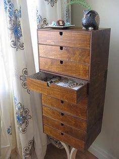 My absolute favorite IKEA hack yet. Similar jewelry box was priced at $1400 and this clever girl made (in my opinion) an even more adorable one complete with vintage wrapping paper lined drawers. I see a spring project in my near future :)