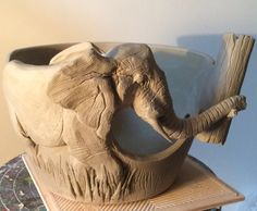 Unfired custom order Elephant yarn bowl with hook holder in… Porcelain Clay, Ceramic Clay, Ceramic Bowls, Ceramics Projects, Clay Projects, Pottery Studio, Pottery Art, Paper Basket Weaving, Hand Thrown Pottery