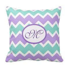 Personalized Monogram Aqua Blue and Lilac Purple Chevron Pillow for baby girl nursery. Great shower gift #decampstudios