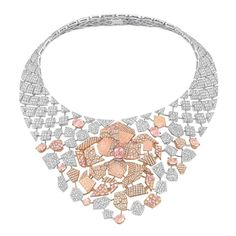 Chanel Cafe Society Sunset necklace set with padparadscha sapphires, pink sapphires and brilliant-cut diamonds.