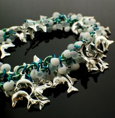 Lush Shaggy Dolphins #chainmaille #Bracelet Kit Extra Beads by UnkamenSupplies