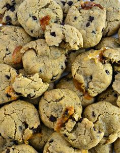 Take a gluten-free chocolate chip cookie and stuff it with vegan salted caramel and now you have the best cookie on earth.