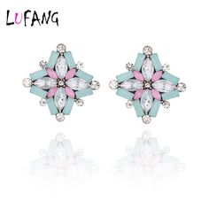 LUFANG 2017 Fashion Jewelry Colorful Vintage Flower Crystal Stud Earrings Women Brand Designer Silver Plated Rhinestones Earring