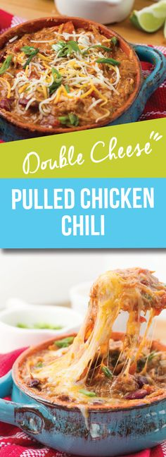 Double Cheese Pulled Chicken Chili | This recipe is made with a thick roux base and mix of delicious pulled chicken and ooey gooey chunks of cheese with each bite. This simmering pot of love warms up any occasion, from Game Day to a heartwarming family meal | meikoandthedish.com
