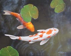 How to paint koi fish and lily pads