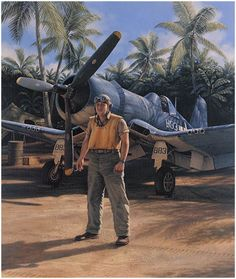 Pappy by Jim Laurier - Greg 'Pappy' Boyington, the famed leader of VMF-214, poses in front of the aircraft so closely associated with the Black Sheep Squadron.