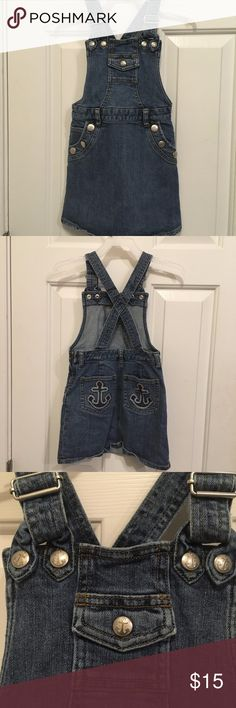 Cute Size 6 Gymboree Denim/Nautical Skirtalls Super fun and cute size 6 Gymboree denim skirtalls, with adorable anchors on the buttons and sequinned anchors on the back pockets! Side zip for easy on and off, no rips, stains, fading or piling, excellent condition and gently used. Gymboree Dresses